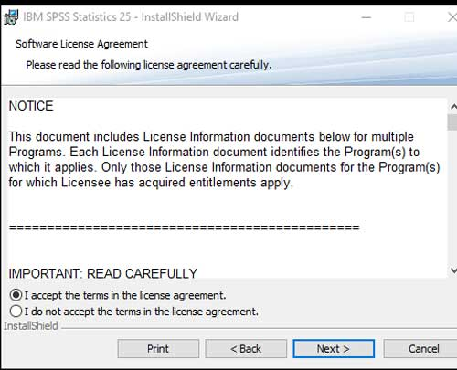 License Aggreement Spss